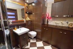 Moderner brauner Badezimmerinnenraum Lizenzfreie Stockfotografie