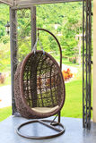 Moderner brauner Stuhl Stockbild
