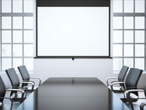 Moderner Büroraum mit Projektorschirm Wiedergabe 3d Stockfoto