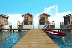 moderner Bungalowerholungsort des Über-Wassers für Ferien mit Boot vektor abbildung