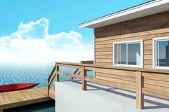 moderner Bungalowerholungsort des Über-Wassers für Ferien mit Boot stock abbildung
