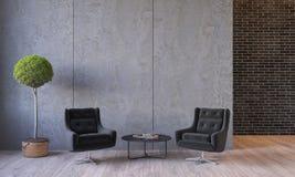 Moderner Dachboden Innen mit Möbelklubsesseln, Anlage, Tabelle, Zement-Wände der Architektur konkrete stock abbildung