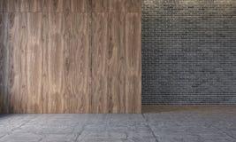 Moderner Dachbodeninnenraum mit hölzernen Wänden, Backsteinmauer, konkreter Boden Leerer Raum, leere Wand vektor abbildung