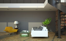 Moderner Dachbodeninnenraum mit Teil des zweiten Stocks Lizenzfreie Stockfotos