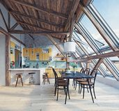 Moderner Dachbodenkücheninnenraum Stockfoto