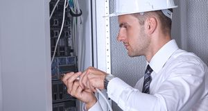 Moderner datacenter Serverraum Lizenzfreies Stockbild