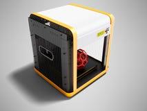 Moderner Drucker des Weiß 3d für Hauptgebrauch mit orange Einsätzen 3D zerreißen lizenzfreie abbildung