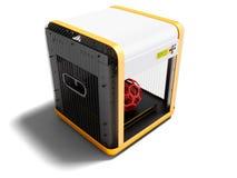 Moderner Drucker des Weiß 3d für Hauptgebrauch mit orange Einsätzen 3D zerreißen vektor abbildung
