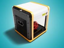 Moderner Drucker des Weiß 3d für Hauptgebrauch mit Orangeneinsätzen 3D übertragen auf blauem Hintergrund mit Schatten stock abbildung