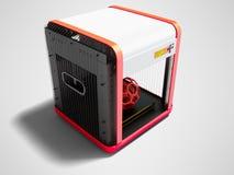 Moderner Drucker des Weiß 3d für Hauptgebrauch mit Roteinsätzen 3D übertragen vektor abbildung