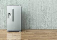 Moderner Edelstahl-Kühlschrank auf einer Betonmauer und auf einem Bretterboden - Wiedergabe 3D lizenzfreie stockfotografie
