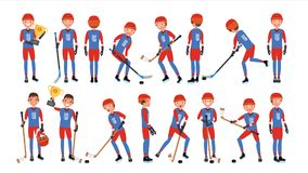 Moderner Eis-Hockey-Spieler-Vektor Verschiedene Haltungen Athlet in der Tätigkeit Flache Karikaturillustration lizenzfreie abbildung