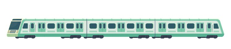 Moderner elektrischer Hochgeschwindigkeitszug Passanger Bahn-U-Bahn- oder Metrotransport Untertagezug Vektorillustration stockfoto