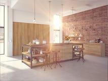 Moderner Entwurfs-luxuriöser Küchen-Innenraum Wiedergabe 3d Stockbild