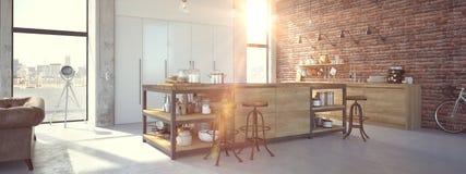 Moderner Entwurfs-luxuriöser Küchen-Innenraum Wiedergabe 3d stockbilder
