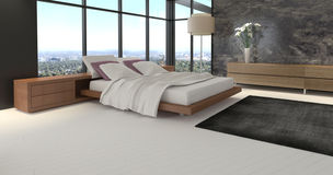 Moderner Entwurfs-Schlafzimmer mit Landschaftsansicht Stockfotos