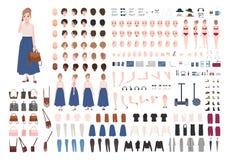 Moderner Erbauer der jungen Frau oder Animationsausrüstung Sammlung Körperteile der weiblichen Figur, Gesten, stilvolle Kleidung lizenzfreie abbildung