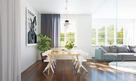 Moderner Esszimmer-Innenraum lizenzfreie stockbilder