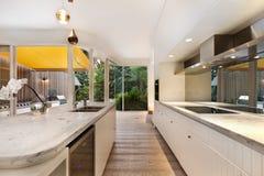Moderner feinschmeckerischer Kücheninnenraum Stockfotografie