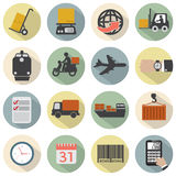 Moderner flacher Design-Logistik-Ikonen-Satz Lizenzfreie Stockfotos