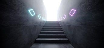 Moderner futuristischer Cyber-glühender purpurroter blauer Laser-Club-Stadiums-Neontunnel Sci FI mit Treppen-reflektierender Schm vektor abbildung
