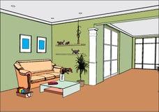 Moderner geöffneter Innenraum lizenzfreie abbildung