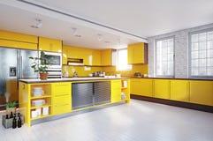 Moderner gelber Farbkücheninnenraum stockfotos
