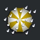 Moderner gelber Regenschirm des Vektors mit Tropfen vektor abbildung