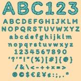 Moderner geometrischer Guss mit grünen Maschenbuchstaben und polygonalen Formen lizenzfreie abbildung