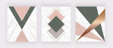 Moderner geometrischer Marmorentwurf mit goldenen Linien, Rosa und grüne Dreiecke und Hexagonformen Modehintergrund für Fahne, gr lizenzfreie abbildung