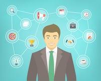 Moderner Geschäftsmann Conceptual Infographics Stockbild