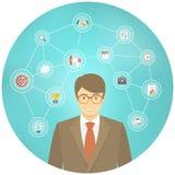 Moderner Geschäftsmann Conceptual Infographics Lizenzfreie Stockfotografie