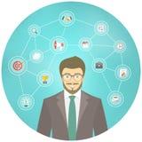 Moderner Geschäftsmann Hipster Conceptual Infographics Lizenzfreies Stockfoto