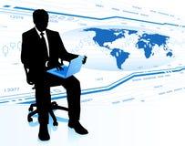 Moderner Geschäftsmann im Bürostuhl Lizenzfreie Stockbilder