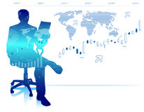 Moderner Geschäftsmann im Bürostuhl Lizenzfreies Stockfoto