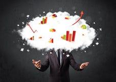 Moderner Geschäftsmann mit einem Diagrammwolkenkopf Lizenzfreies Stockfoto