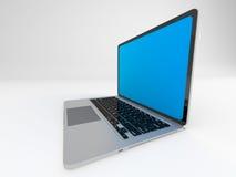 Moderner glatter Laptop auf Weiß Stockbilder