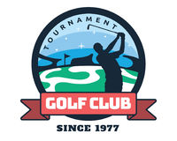 Moderner Golf-Ausweis Logo Illustration Lizenzfreies Stockfoto