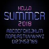 Moderner Guss und Alphabet des Vektors Beschriftung für Sommer Lizenzfreie Stockbilder