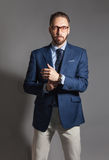Moderner hübscher stilvoller bärtiger Mann mit Gläsern Stockbilder