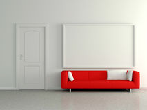 Moderner Hauptinnenraum mit dem roten Sofa, malend. 3D. Stockfoto