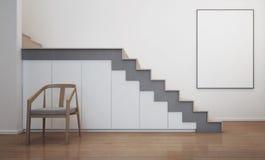 Moderner Hausinnenraum mit Treppe und weißem Bilderrahmen Stockfotos