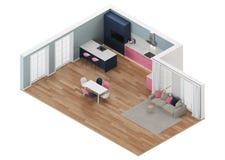 Moderner Hausinnenraum Rosa Küche Orthogonale Projektion Ansicht von oben vektor abbildung