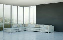 Moderner heller Raum der Innenarchitektur mit weißem Sofa
