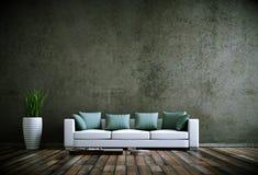 Moderner heller Raum der Innenarchitektur mit weißem Sofa lizenzfreie abbildung
