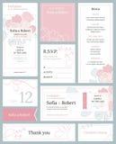 Moderner Hochzeitssatz Druckerzeugnisse mit einem Blumenmuster Stockfotografie