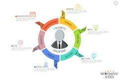 Moderner infographic Entwurf Kreisdiagramm in Form des Lenkrads mit 6 Papiersektorenelementen, Piktogramme Stockfotos