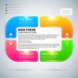 Moderner infographics Plan mit 4 bunten Wahlen Lizenzfreie Stockfotos
