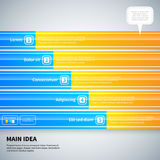 Moderner infographics Plan mit 5 horizontalen Fahnen Lizenzfreie Stockbilder