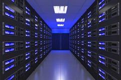 moderner Innenraum 3d des Serverraumes Stockfoto